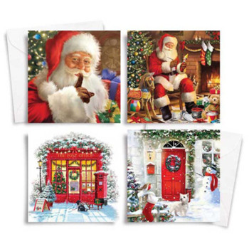 10 Square Traditional Christmas Cards Traditional Santa
