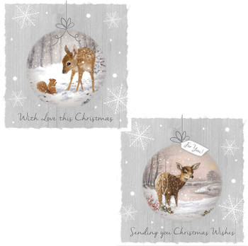 10 Square Winter Wonderland Trend Christmas Card Deer