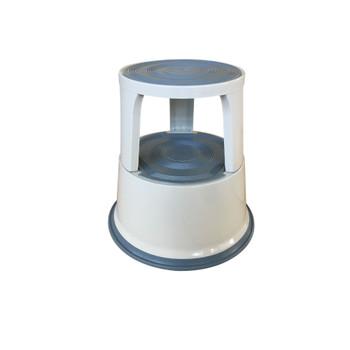 Janrax Light Grey Metal Premium Rolling Kick Step Stool