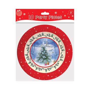 "10 9"" Plates Traditional Christmas"