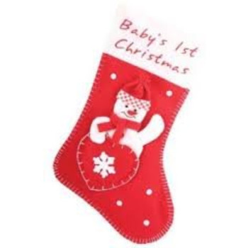 Baby's 1st First Christmas Stocking Snowman Design with Heart Shaped Front Pocket