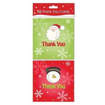 Christmas Thank you Cards With Envelopes Pack Of 10 Santa & Snowman Designs