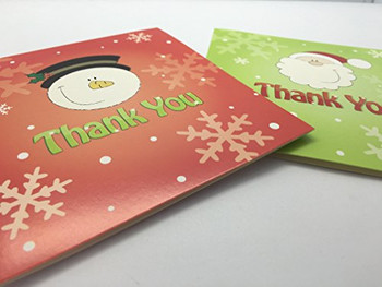 Pack of 20 Christmas Thank You Cards with Envelopes Snowman and Santa