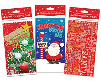 12 Christmas Paper Party Loot Favour Bag Goody Goodie Bags ideal for Sweets Party Gifts Novelty Toys (Xmas Tree Father Santa Claus Snowflake)