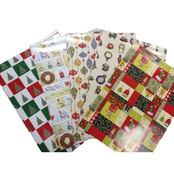 10 Sheet of Mix Designer' Soft touch Foiled Christmas Gift wrap
