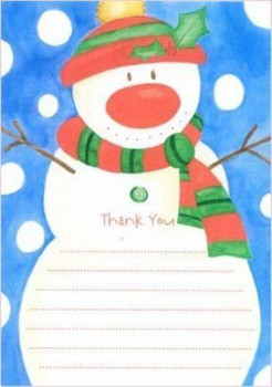 Snowman Christmas Thank You Sheets Pack of 20
