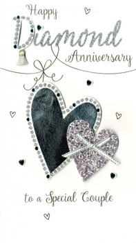 Happy Diamond Anniversary To A Special Couple Handmade Silver Heart Card