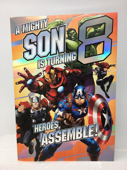 Age 8 Son Birthday Card with 3D Avengers Pop Out