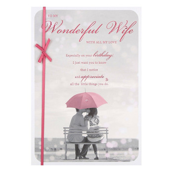 """Wife Birthday Card """"Love Always"""" with Ribbon Finish"""