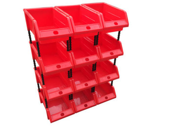 12 x Small Stackable Red Storage Picking Bins with 48 Riser Stands and Labels - 170x118x75mm