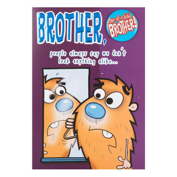 "Brother Humour Birthday Card ""One Of A Kind"" With Badge"