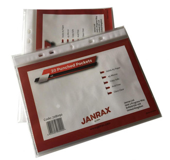 Pack of 100 A5 Glass Clear Punched Pockets by Janrax