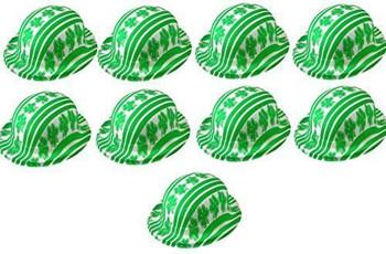 Pack of 10 Irish Shamrock Green Plastic St Patricks Day Bowler Party Hats