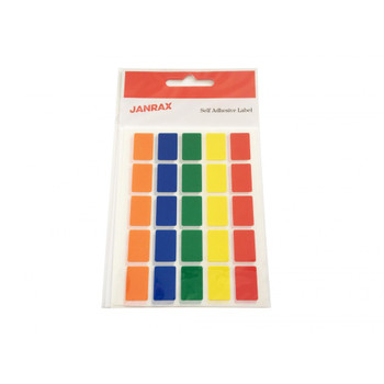 Pack of 125 Assorted Colour 12x18mm Rectangular Labels - Adhesive Stickers