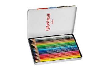 Caran d'Ache 18 Prismalo Aquarelle Colouring Pencils in Metal Tin