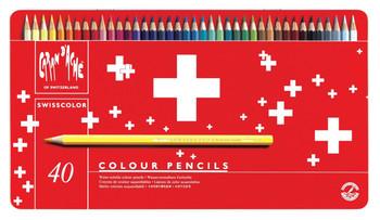 Caran d'Ache 40 Swisscolor Colouring Pencils in Metal Tin