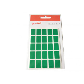 Pack of 125 Green 12x18mm Rectangular Labels Adhesive Stickers