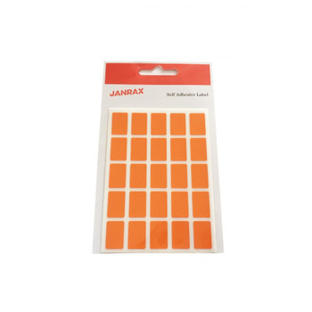 Pack of 125 Orange 12x18mm Rectangular Labels Adhesive Stickers
