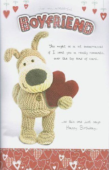 "Boofle Brown Wooly Bear Birthday Card For My Boyfriend 10"" x 6.5"" Code 100410-1"
