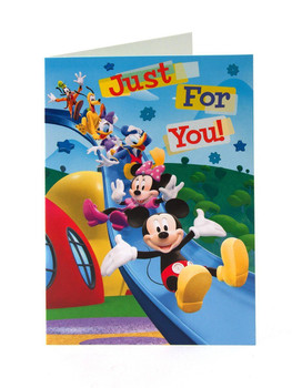 mickey mouse and friends just for you birthday card