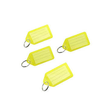 Pack of 100 Small Yellow Identity Tag Key Rings
