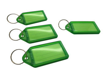 Pack of 100 Small Green Identity Tag Key Rings