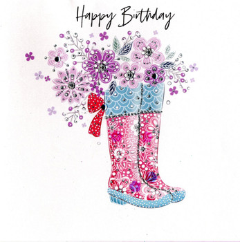Happy Birthday Boots And Flowers Card Second Nature Pearl