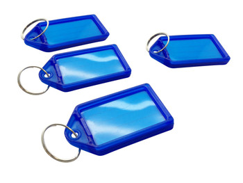Pack of 100 Small Blue Identity Tag Key Rings