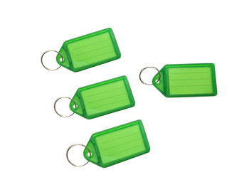 Pack of 50 Large Green Identity Tag Key Rings - Sliding Fob Keyrings Coloured