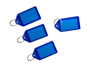 Pack of 50 Large Blue Identity Tag Key Rings