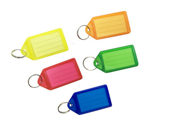 Pack of 50 Large Assorted Coloured Identity Tag Key Rings