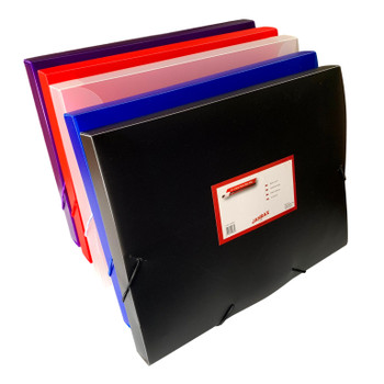 Pack of 10 A4 Clearview Assorted Coloured Box Files with Elastic Closure