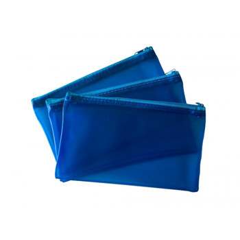"""8x5"""" Frosted Blue Pencil Case - See Through Exam Clear Translucent"""