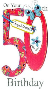 On Your 50th Birthday Handmade Birthday Card