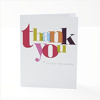 Pack of 20 Quality Multicoloured Thank You Cards with Envelopes