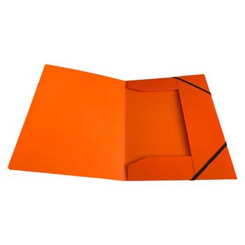 Janrax A4 Orange Laminated Card 3 Flap Folder with Elastic Closure