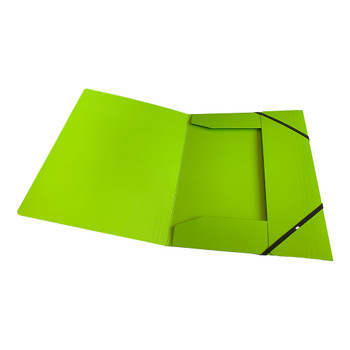 Janrax A4 Green Laminated Card 3 Flap Folder with Elastic Closure