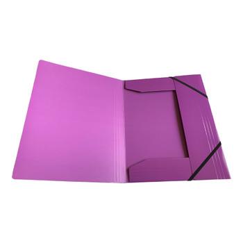 Janrax A4 Purple Laminated Card 3 Flap Folder with Elastic Closure