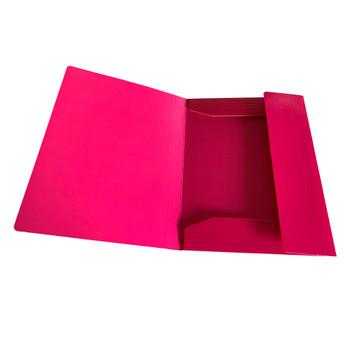 Janrax A4 Pink Laminated Card 3 Flap Folder with Elastic Closure