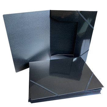 Janrax A4 Black Laminated Card 3 Flap Folder with Elastic Closure