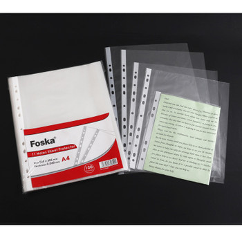 100 A4 Punched Pocket Clear Sleeves