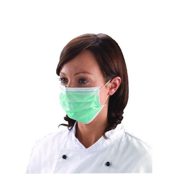 Pack of 50 Shield Non-Woven 3-Ply Green Disposable Face Mask