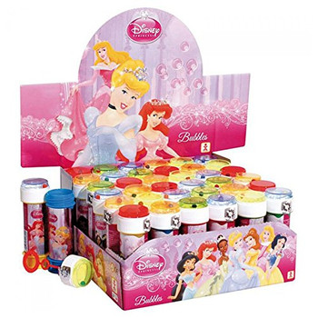 Box of 36 Assorted Disney Princess Girls bubble tubes 60 ml