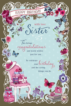 Floral Border With Love Sister Birthday Card