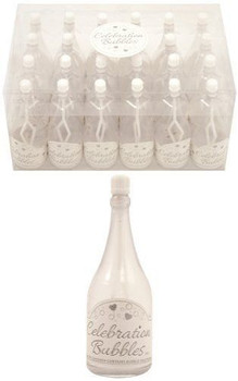 Pack of 24 Clear Bottle Bubbles with White Wand