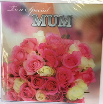 3D Holographic Beautiful Colorful bouquet of roses To a Special Mum Mother's Day Card