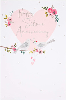25th Anniversary Card Silver Wedding Anniversary With Sweet Love Birds