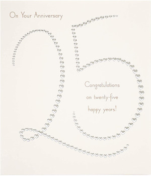 25th Anniversary Silver Wedding Couple Anniversary Card With Silver Foil Hearts