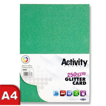 Pack of 10 Sheets A4 Green 250gsm Glitter Card by Premier Activity