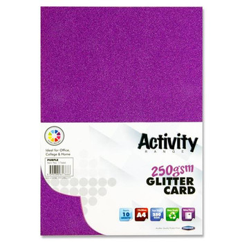 Pack of 10 Sheets A4 Purple 250gsm Glitter Card by Premier Activity
